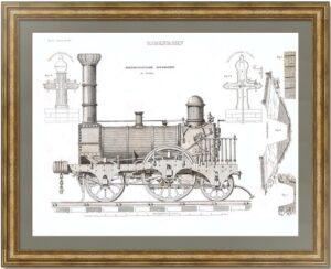 Локомотив Стефенсона. 1835г. Старинная гравюра