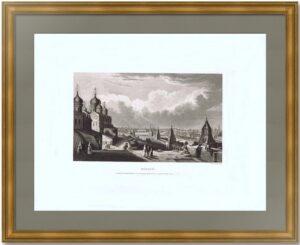 Вид города Москвы с балкона. 1843г. Делабарт/Дэвенпорт. Старинная гравюра