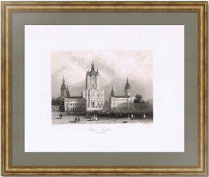 Смольный собор. Санкт-Петербург. 1845г. Пейн. Старинная гравюра - антикварный подарок