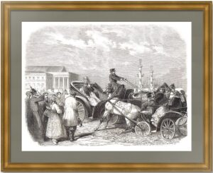 Александр II в коляске. 1856г.  Бланшар. Старинная гравюра - антикварный подарок