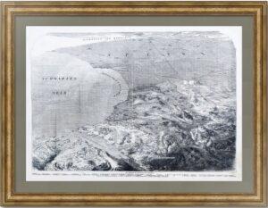 Севастопольская бухта с высоты птичьего полёта. 1856г. Рельефная карта - антикварная гравюра