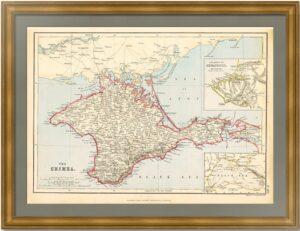 Крым. 1872г. Старинная карта - антикварный ВИП подарок