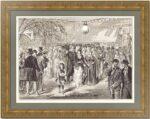 Шоу невест на Троицу в Летнем саду. 1873г. Антикварная гравюра