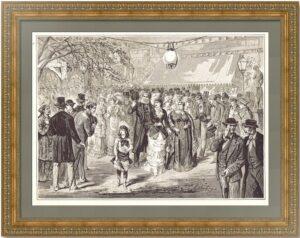 Санкт-Петербург. Смотр невест на Троицу в Летнем саду. 1873г. Антикварная гравюра