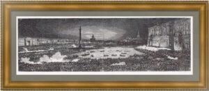 Санкт-Петербург. Иллюминация на Дворцовой площади. 1874г. Старинная гравюра