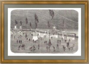 Санкт-Петербург. Каток на Неве. 1875г. Антикварная гравюра