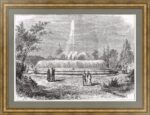 Фонтан Александровского сада Петербурга. 1880г. Старинная гравюра
