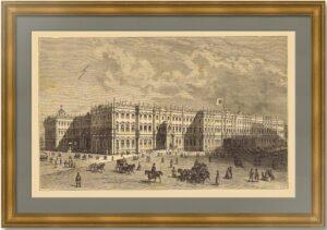 Зимний дворец в Петербурге. 1881г. Старинная гравюра