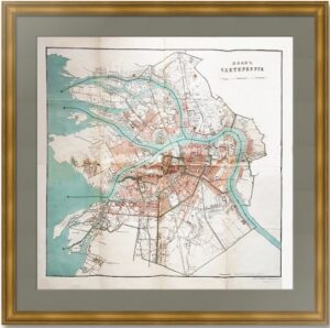 Петербург разделенный на части. 1882г. Старинный литографированный план.