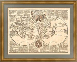 Мир Мартина Бехайма. Полушария без Америки. 1884г. Доппельмайер. Старинная карта Мира.