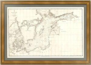 Балтийское море 1854г. Старинная морская карта (68x101!). Сарычев/Уолкер