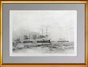 Российская эскадра в Тулоне. 1893г. Боголюбов. 70x100. Антикварная гравюра