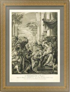Эрмитажная коллекция. Поклонение волхвов. Веронезе. 1729г. Гравюра. Музейный экземпляр