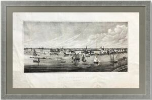 Панорама Невы в Санкт-Петербурге. 1830г (ок.) Старинная литография по Аткинсону