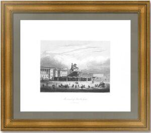 Монумент Петра Великого в Санкт-Петербурге (2) 1845г. Пейн. Старинная гравюра