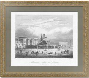 Монумент Петра Великого в Санкт-Петербурге. (1)1845г. Пейн. Старинная гравюра