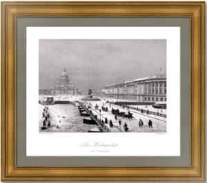 Петербург. Исаакиевский мост зимой. (2) 1845г. Старинная гравюра - антикварный подарок