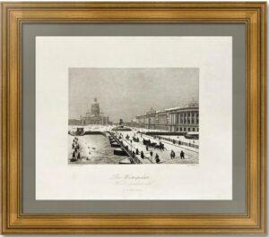 Петербург. Исаакиевский мост зимой. 1845г. Старинная гравюра - антикварный подарок
