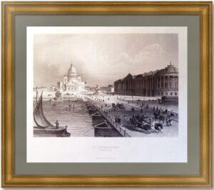 Петербург. Исаакиевский мост летом. 1845г. Старинная гравюра - антикварный подарок