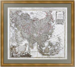 Азия. 1744г. Хасе/Бём.  Старинная редкая гравированная карта.  Антикварный ВИП подарок
