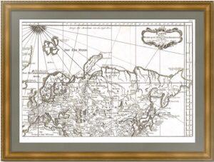 Карта трёх великих путешествий в Московию и Тартарию 1750г. Беллин. Антикварная карта