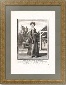 Татарская девушка идет на рынок. 1690г. Боннар. Старинная гравюра
