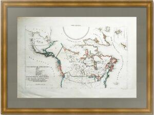 Русские и британские владения в Америке. 1830г. Старинная редкая карта
