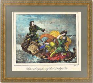 Петр I (Великий) в бурю на Ладожском озере. 1840г. Старинная литография