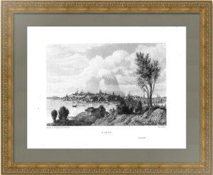 Казань в 1767 году. Старинный офорт. Луиллиер по Леспинасу. 1850г.