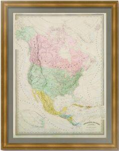 Северная Америка. Континент и гидрография. Дуфур/Дионне. 1867г. Старинная карта. (90x62!)