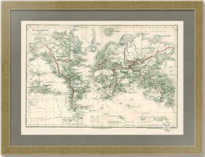Великие географические экспедиции на карте Мира. 1868г. Антикварный подарок