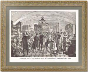 Петербург. Полночь в булочной. 1873г. Антикварная гравюра