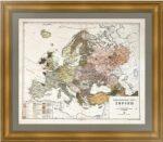 Этнографическая карта Европы. 1876г. Ильин по Риттиху. Музейный экземпляр