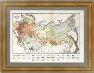 Этнографическая карта Российской империи. 1876г. Музейный экземпляр
