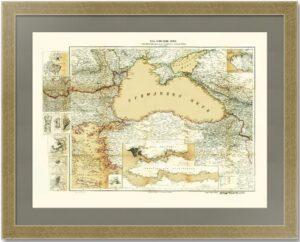 Большая старинная карта Чёрного моря. 1877г. Лист 70х88! ВИП подарок чиновнику