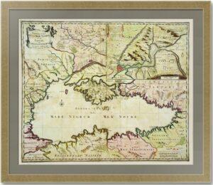 Чёрное море и пролив Босфор. 1680г. Вишер. Старинная карта. Музейный экземпляр.