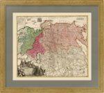 Старинная карта России. 1. Хоманн. 1720г. Музейный экземпляр. ВИП подарок в кабинет