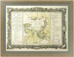 Азия. 1767г. Старинная редкая карта в декоративной барочной рамке.