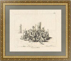 Казаки в Берлине. 1818г. Старинный офорт - антикварный подарок