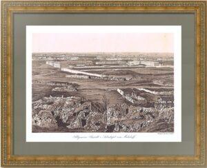 Севастополь от Малахова кургана. 1857г. Старинная тоновая литография. Редкость