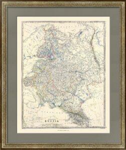 Европейская Россия. Джонстон. 1861г. Антикварный подарок руководителю. 62x50. Карта