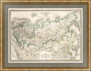 Россия европейская и азиатская. 1865г. Старинная карта. Дуфур/Дионне. (62×90!)