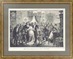 Пасха в петербургском салоне. 1889г. Бальдингер. Старинная оригинальная гравюра